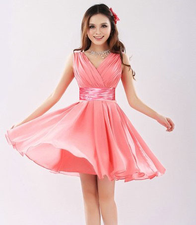 New 2015 short design double shoulder V-neck women's prom party vestidos chiffon Party Cocktail Dress(China (Mainland))