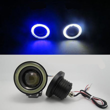 Buy 2 PCS. Car Cob Led Angel Eyes Fog lights Led Halo Projector Lens ring foglamp 12 Waterproof White Blue Xenon lamp SUV ATV for $21.46 in AliExpress store