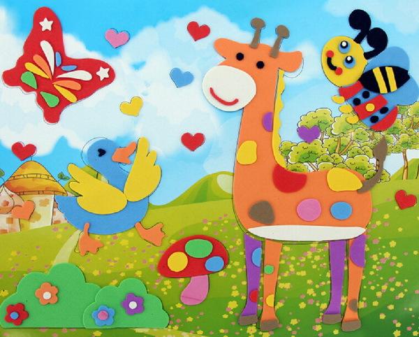 Wholesale 10 pcs/set Kid DIY Handicraft 3D Cartoon Animal Digital EVA Art Sticker Baby Student Birthday Gift Child education Toy(China (Mainland))