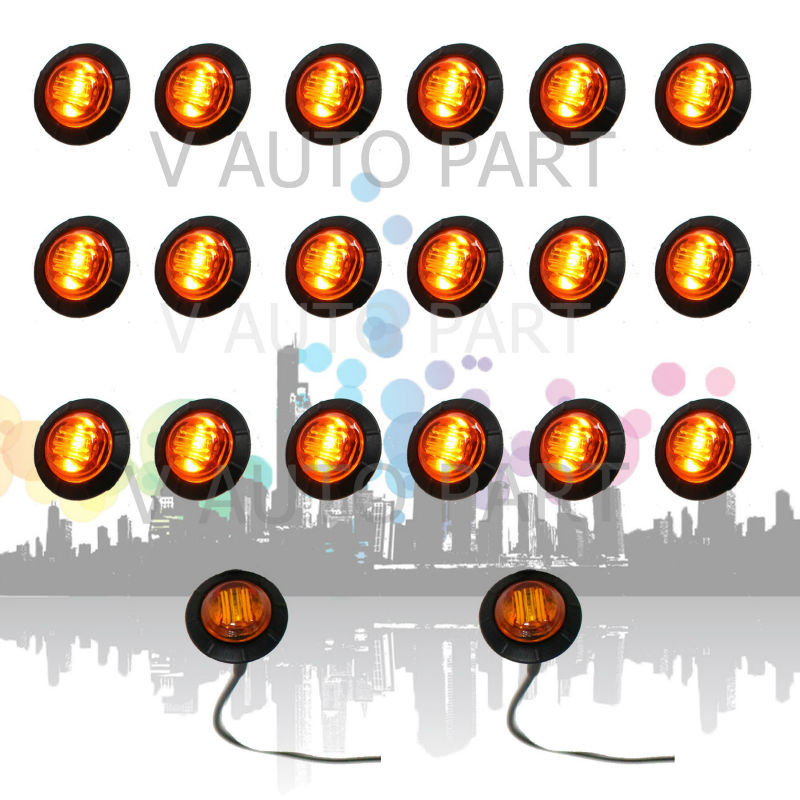 20X Mini 3/4 inch 12V Round Truck Marker fit for Boat Tailer Lorry Light Amber 3 LED Bullet Grommet(China (Mainland))