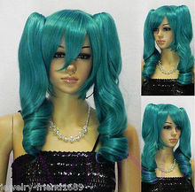 Wholesale& heat resistant LY free shipping>>New wig Cosplay Short Dark Green wig Heat Resistant Wig + Two Ponytails