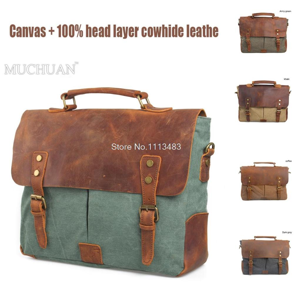 Фотография 2016 New men messenger bags fashion male single-shoulder bag Retro canvas bags genuine leather Travel bag casual briefcase H175
