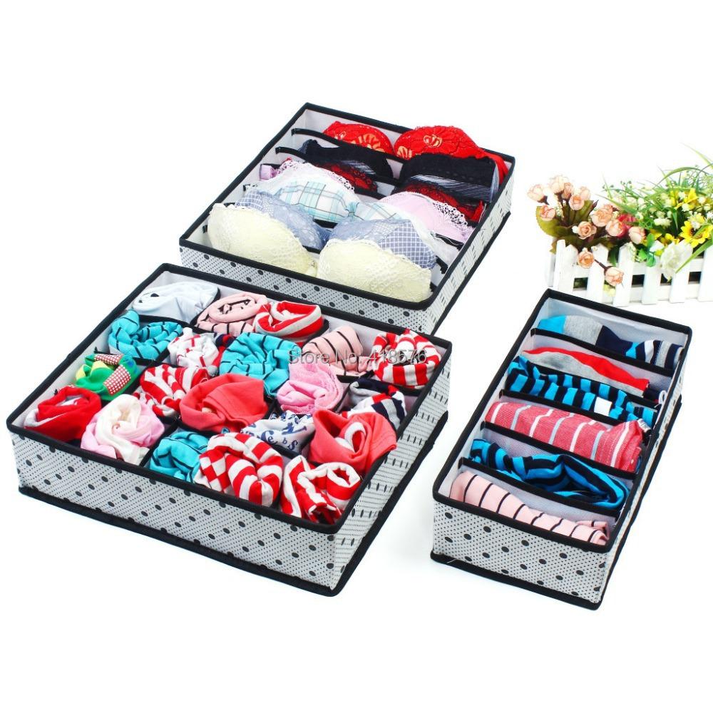 1Set Collapsible Storage Boxes For Bra Underwear Folding Closet Organizer Drawer Divider Container(China (Mainland))