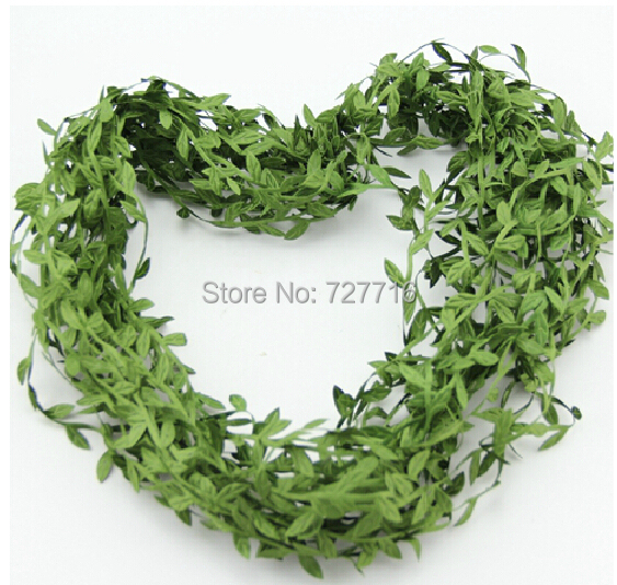 Free shipping 20M artificial leaves string / green leaf for wreath(China (Mainland))