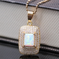 Luxury Necklace Pendant White Fire Opal &AAA Zircon 18k Gold Filled Zircon Square Pendant Best Selling