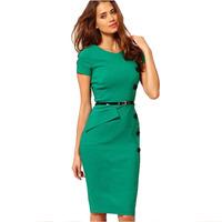 New Fashion Temperament Professional Women Elegant V-Neck Empire Waist Casual Bodycon Button Knee-Length Dress Plus Size XS-XXXL