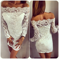 Bodycon 2016 spring and summer women's fashion sweet strapless dress strapless corset dress sexy lace stitching slash neck dress