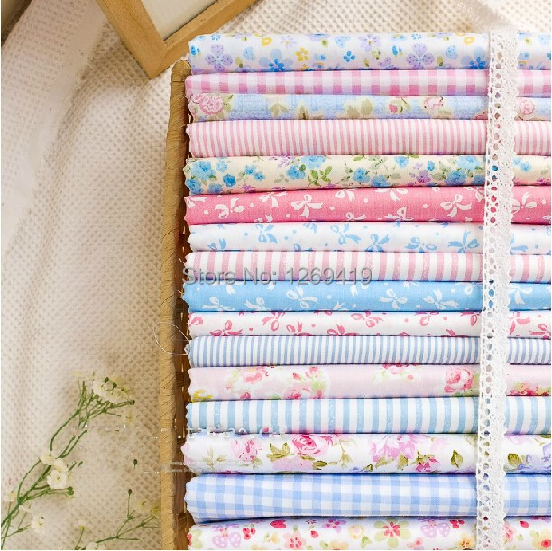 16PCS 40*50CM Sweet Blue Pink Floral Printed Cotton Fabric Fat Quarter Bundle For Sewing DIY Patchwork Baby Toy Material Tilda(China (Mainland))