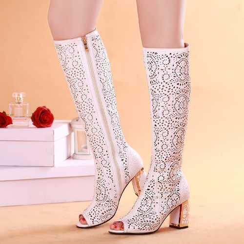 2015 Knee High Women Summer Boots Sexy Fashion Sandals Ladies Blue