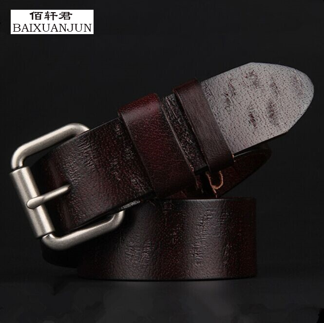 [BAIXUANJUN] Men's leather belt Men's high quality full leather retro pin buckle belt men's brand jeans waistband(China (Mainland))