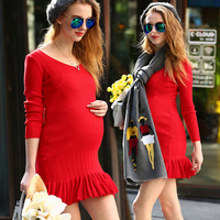 Autumn and winter maternity clothing sweater medium-long maternity sweater one-piece dress shirt basic sweater