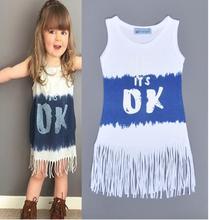 Retail New It 's Ok Letters Tassel Vest Sleeveless Dress Love Girls Dress(China (Mainland))