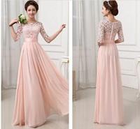 New Brand Formal Gown Pink White Lace Chiffon Long Evening Dress Half Sleeve Elegant Women Prom Gown Maxi Dress Vestidos S-XXL