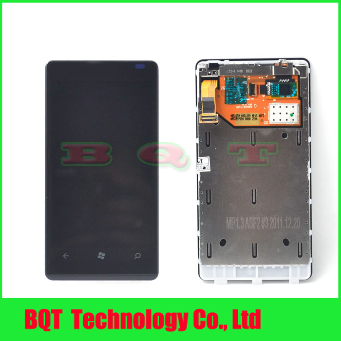 2pcs Original LCD Display Touch Digitizer Screen Assembly with Frame For Nokia Lumia 800 100% guarantee Free shipping(China (Mainland))