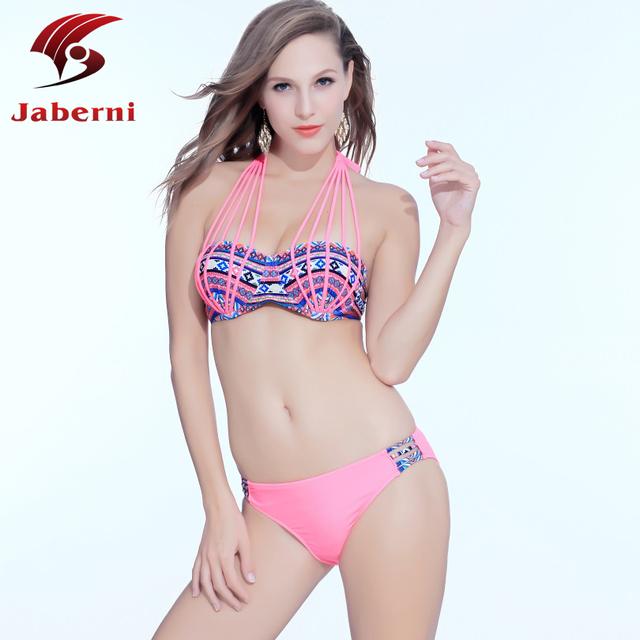 Jaberni 2016 крючком повод высокая шея комплект бикини строка топ старинные повязку BrazilianTropical женщины леди сексуальный купальник