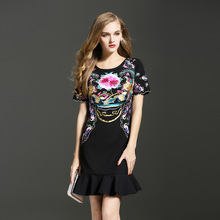 Buy embroidery Vintage Party Dress 2016 new elegant flower dress Slim ladies luxury dresses XL 2XL summer women clothing black pink for $50.99 in AliExpress store