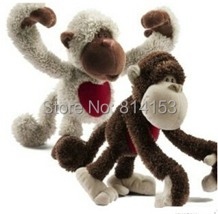 Free Shipping 25cm one pair NICI couple long arms monkey plush toy dolls stuffed animal toy for children kids(China (Mainland))