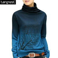 TANGNEST Soft Women PULLOVERS 2016 Turtleneck Pullover Print Gradient Plus Size Sweatshirt Casual Knitted Tops WZL615