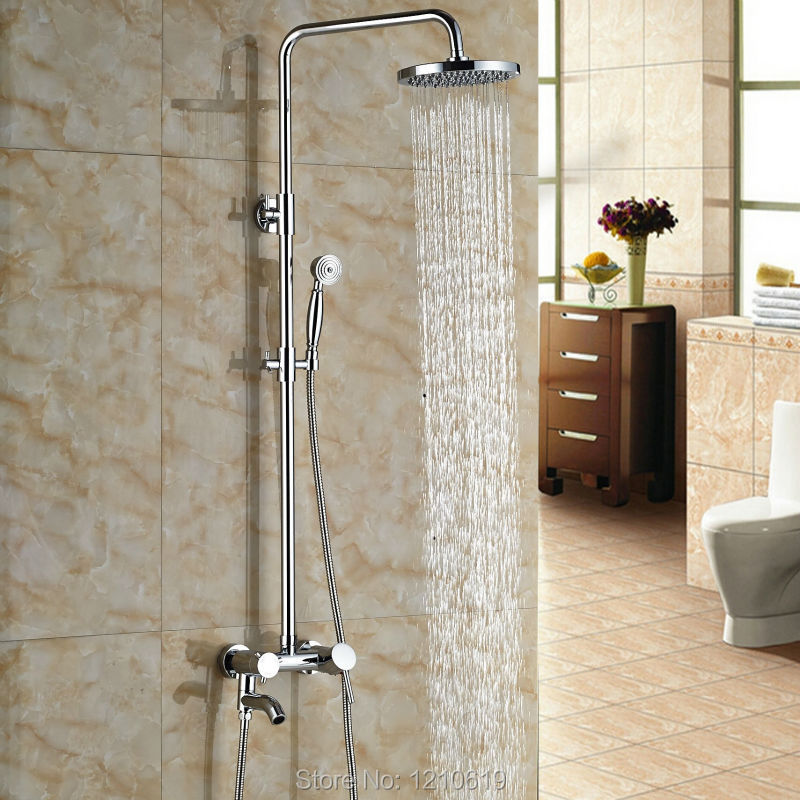 Фотография Newly Rainfall 8 Inch Bath Shower Mixer Faucet Chrome Polished Wall Mount Shower Set Faucet w/ Hand Shower