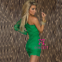 New Arrival Plus Size Sexy Club Prom Cocktail Party Dresses Green Lace One Shoulder Full Sleeve Sheath Woman Summer Dress 2014