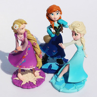 3pcs/set 10CM Princess Elsa Anna Rapunzel Action Figure PVC Toy Very Good Gift For Kids Free Shipping