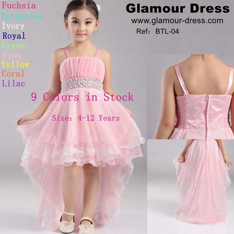 Hot Sale 2015 New Girl Dress Front Short Back Long girls pageant dresses Plus Size Flower girl dresses For weddings Festa Dress(China (Mainland))