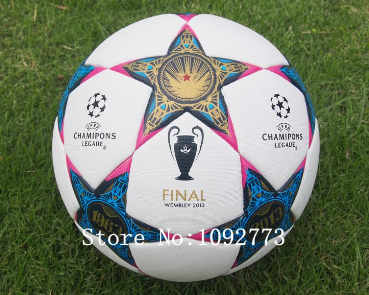 2012-2014 European champion league soccers Anti-slip granules Soccer ball A++ red star football PU size 5 Free shipping(China (Mainland))