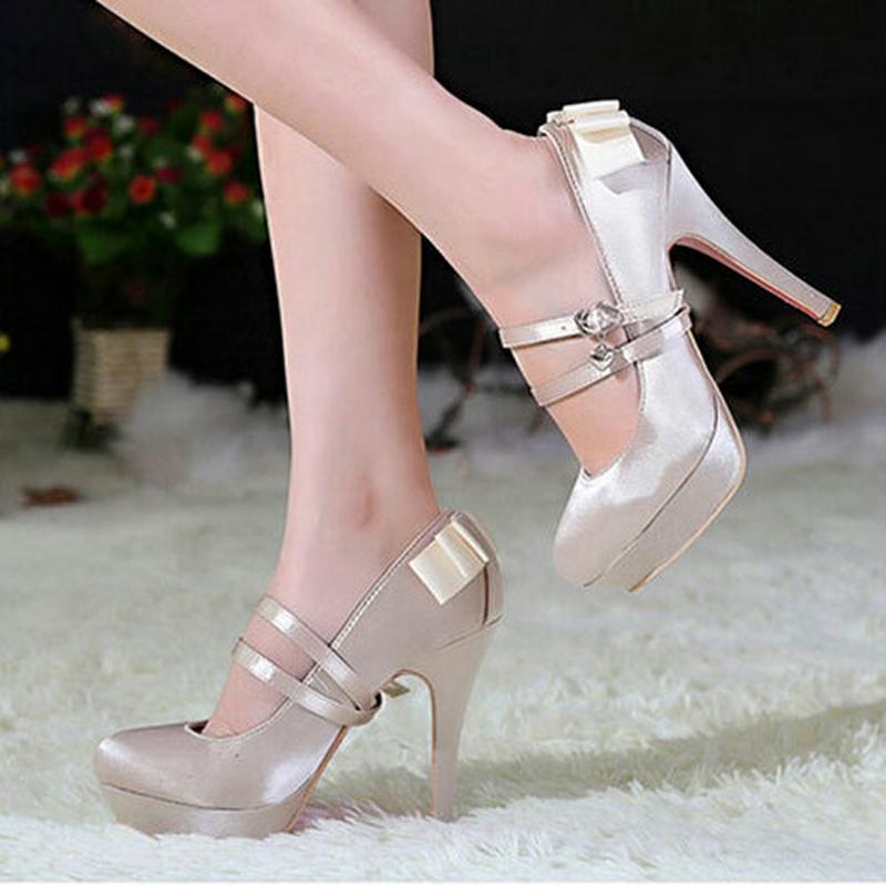 2015 New Fashion Platform Pumps Sexy High-Heeled Shoes Thin Heels Round Toe Platform Red Bottom Shoes Women's Wedding Shoes(China (Mainland))