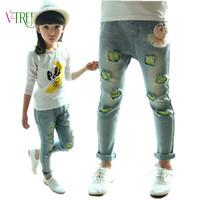 2016 spring girls clothing teen age baby girls jeans pants, fashion holes girls leggings demin image girls jeans