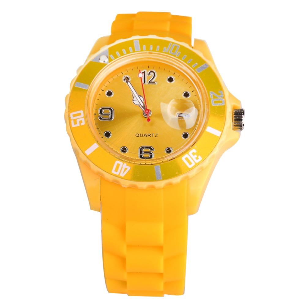 Fashion New Unisex Women Wristwatch Quartz Watch Silicone Sports Candy Color Reloj Mujer Kol Saat Female Digital Clock Yellow(China (Mainland))