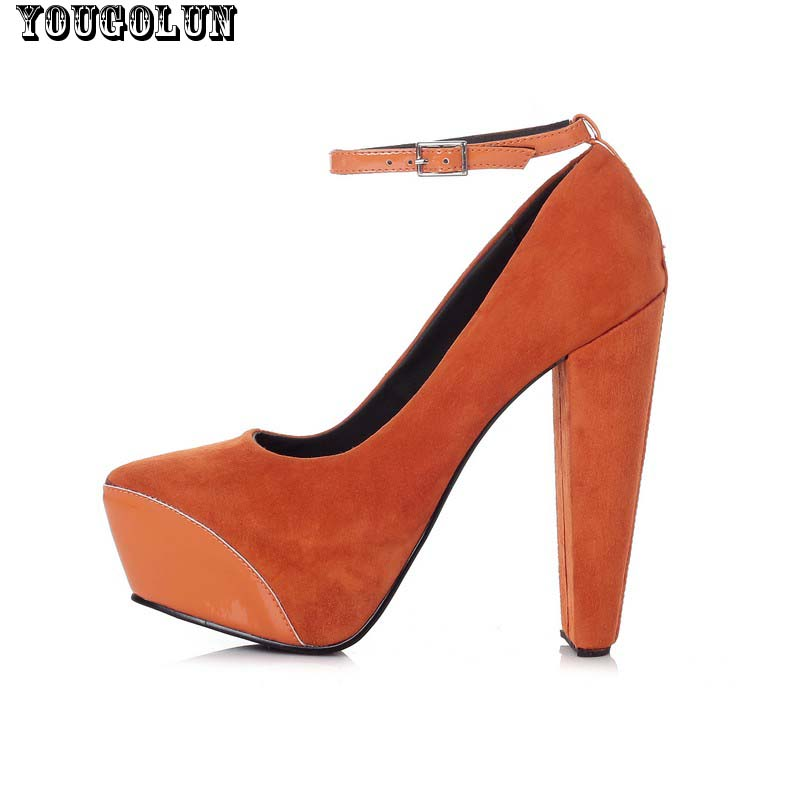 New Sexy High Heels(14cm)Women Genuine Nubuck Leather Thick Heel Pumps Fashion Ladies Buckle Shoes Woman Black Orange Party Shoe<br><br>Aliexpress