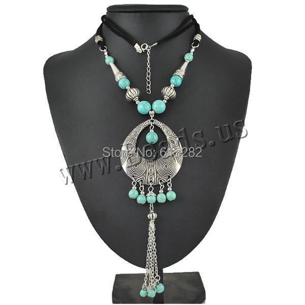 Free shipping!!!Zinc Alloy Sweater Chain Necklace,2014 new summer, with turquoise &amp; Cotton Cord, with 1.1lnch extender chain<br>