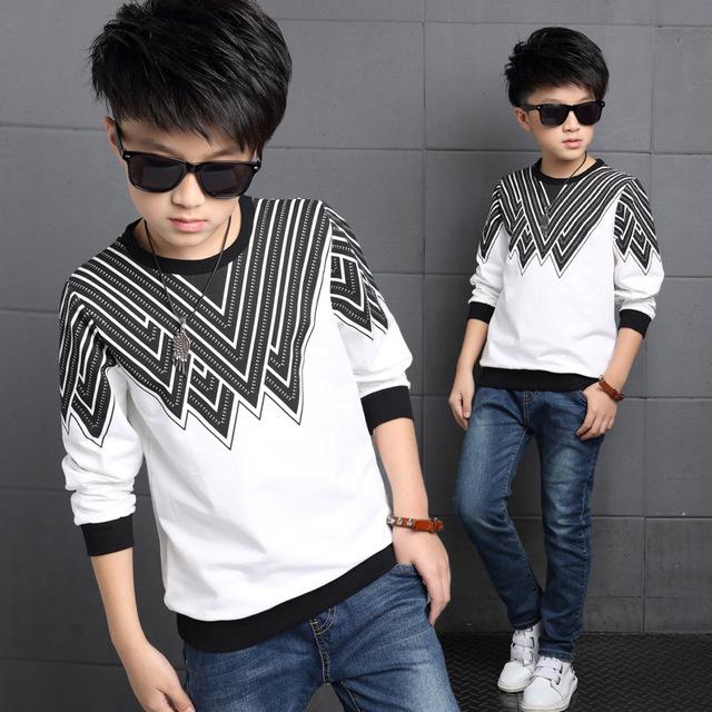 2016 новых мальчиков осень с длинными рукавами детские печатные футболки мальчик одежда для 5-14Y дети свитер мальчики топы