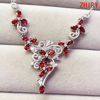 100% natural garnet gem stone wedding necklace Real 925 sterling silver Platinum plated women wear fine jewelry noble