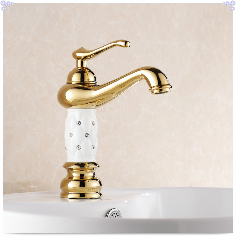 Gold finish bathroom sink faucet design single lever basin for Gold bathroom sink taps