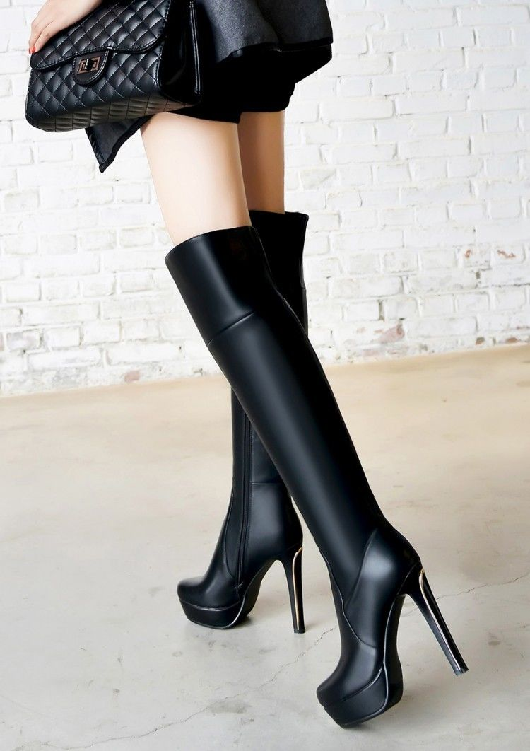 Sexy Leather High Heels