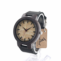 BOBO BIRD Mens Womens Bamboo Wooden Quartz Watch Japanese 2035 Movement Watch with Genuine Leather Band as Valentine's Day Gift