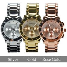 2015 Luxury Geneva Brand Crystal stainless steel Quartz watch women ladies men fashion Dress wrist watch