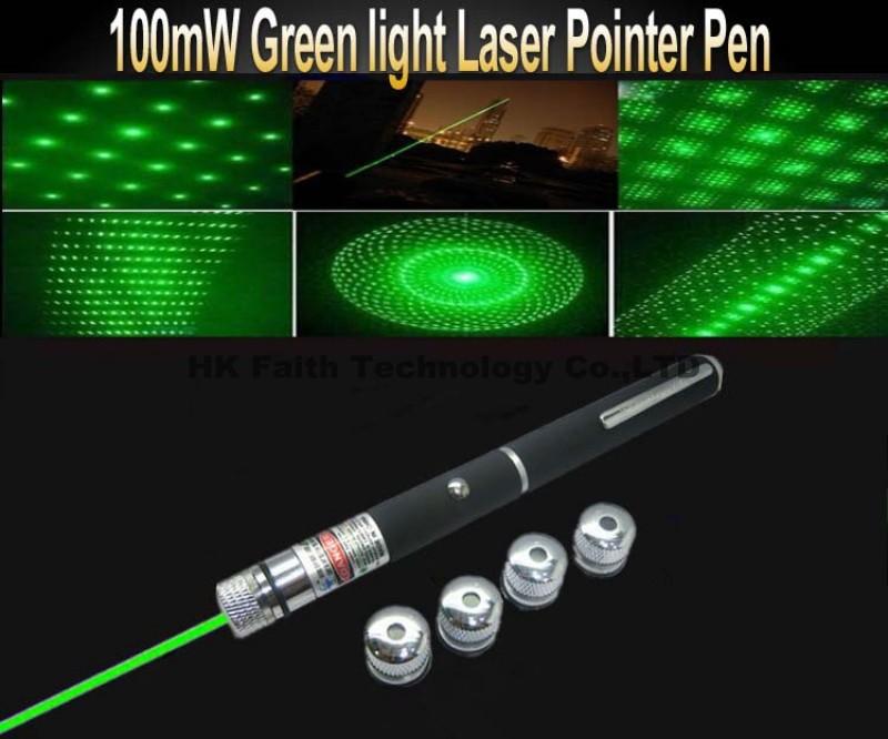 100MW 532nm Green Laser 5 in 1 Green Laser Pointer Pen 5MW Star Effect Caps +5 Laserheads Lazer Light(China (Mainland))