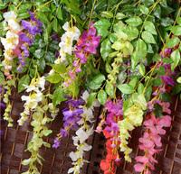 110cm Wisteria Artificial Flowers Luxury Wedding Decoration Flower Vine Artificial Silk Flower Wisteria Vine Rattan For Home