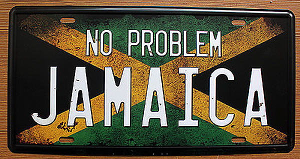 """License Plate Vintage House bar coffee decoration """"No problem Jamaica"""" Garage poster Metal Art Wall craft 15*30CM Free shipping(China (Mainland))"""