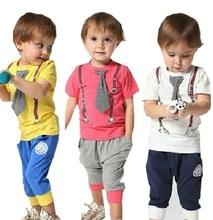 2016 Summer Style Baby Boys Clothing Set Short Sleeve+Pant 2pcs Kids Clothes Set Vetement Bebe Garcon 1-6 Years Tracksuit KF002(China (Mainland))