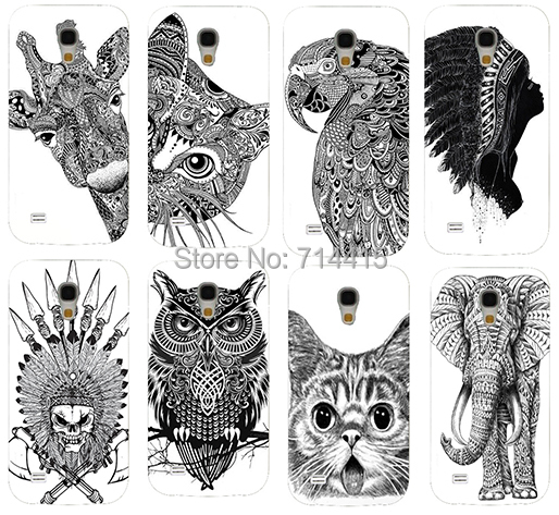 Cool Cartoon Black White Animal pattern Cute Custom phone Back cover skin Shell Samsung galaxy S4 mini I9190 SIV - TAOYUNXI store