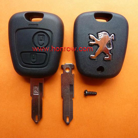 Free shipping-High quality and low price Peugeot 2 button remote key blank with 206 key blade with logo