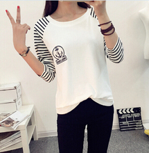 New 2015 T Shirt Women Long Sleeve Tees Fashion Brand Sexy Print T-Shirts Embroidery Knitted Slim Novelty Tops Plus Size S-XXL(China (Mainland))