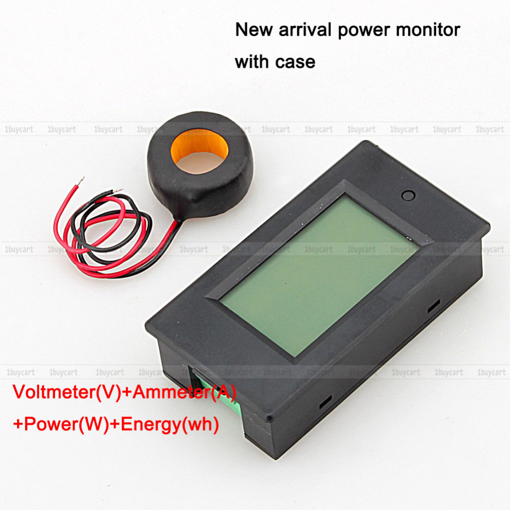 1PC AC 100A Power Meters Monitor Voltage current kWh Watt Digital LED Tester with case + CT(Hong Kong)