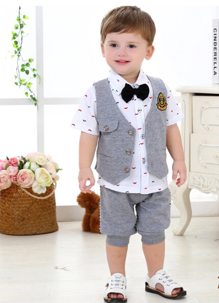 2015 NEW Summer hot sale baby prince set baby wedding suit baby boys set baby clothes free shipping 04(China (Mainland))