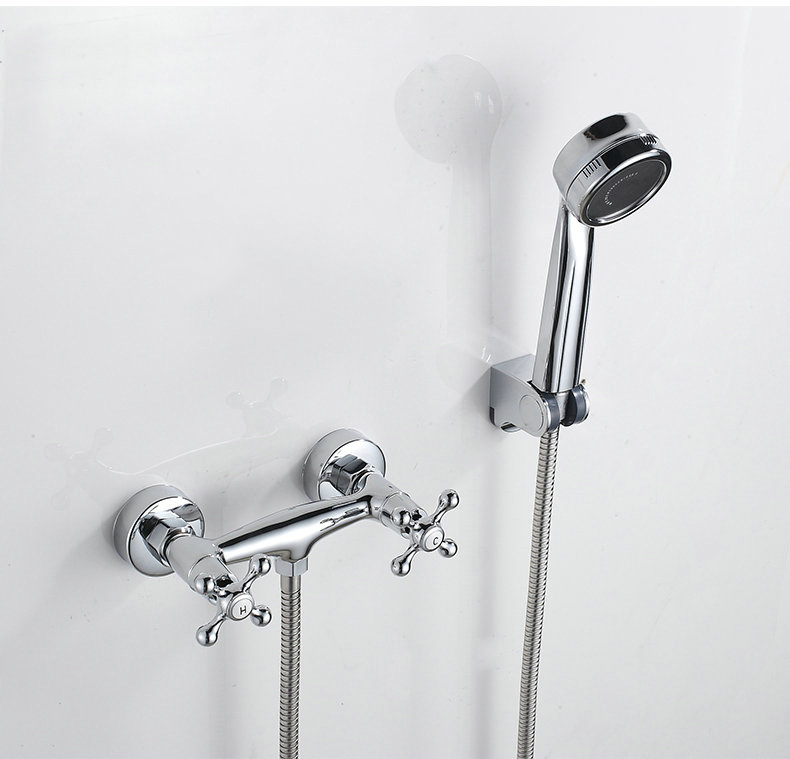 Two Handle Bath Shower Faucet Chrome Brass Sanitary Ware Shower Faucet In Bat