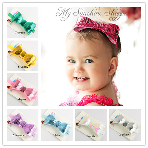 Europe and America tiara paillette sequin bow embroidery Flash blending elastic hair bands for children 12color(China (Mainland))