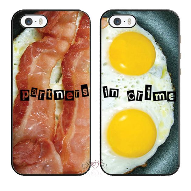 2pcs/lot Fun Best Buddies Forever Bacon Eggs Food cellphone case cover fits for iphone 4/4s 5/5s 5c SE 6/6s plus ipod touch4/5/6(China (Mainland))